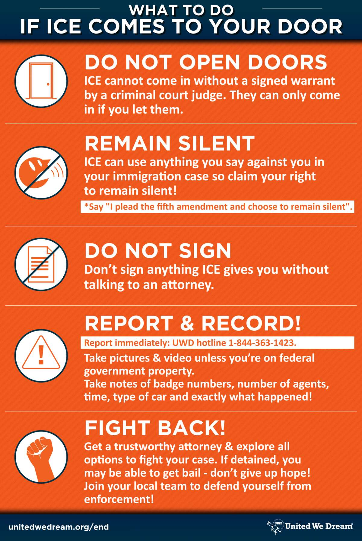 """United We Dream offers """"Deportation Defense Cards"""" in different languages. To download on a smartphone, hold your finger on the photo for three seconds, then choose """"Save Image."""" On a computer, right-click your mouse on the image, then choose """"Save As.""""(For more languages, scroll through the slideshow.)"""