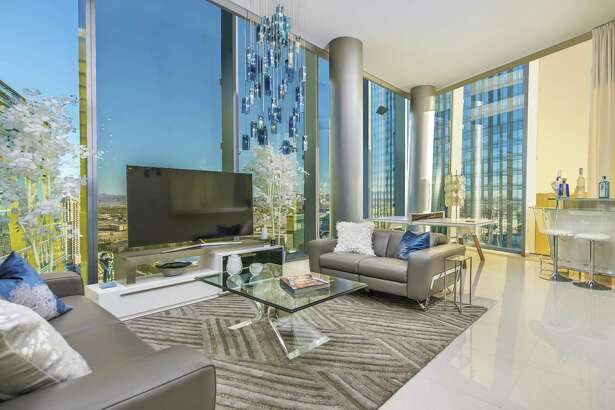 The two-bedroom unit offers an open floor plan an expansive views of the desert landscape.