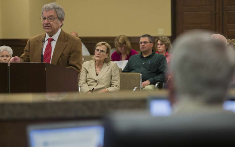 Davis Rosen speaks to the Commissioners Court  03-13-17 about passing a resolution against having nuclear waste travel through Midland County on rail to the proposed high level nuclear waste facility in Andrews County. Tim Fischer/Reporter-Telegram Photo: Tim Fischer/Midland Reporter-Telegram