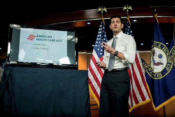 House Speaker Paul Ryan, R-Wis., discusses the American Health Care Act at a news conference on Capitol Hill in Washington. Ryan and other Republicans have proposed limiting full tax credits on health insurance to single people making $75,000 or less and married couples who earn $150,000 or less. (Gabriella Demczuk/The New York Times)