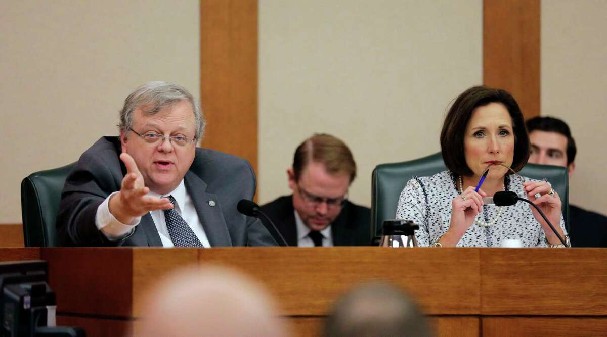 """Texas Sen. Paul Bettencourt, R-Houston, and Sen. Lois Kolkhorst, R-Brenham, take part as the Senate State Affairs Committee begins talks on Senate Bill 6 at the Texas Capitol on Tuesday, March 7, in Austin. The transgender """"bathroom bill"""" would require people to use public bathrooms and restrooms that correspond with the sex on their birth certificate. (AP Photo/Eric Gay)"""