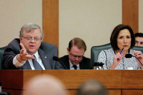 "Texas Sen. Paul Bettencourt, R-Houston, and Sen. Lois Kolkhorst, R-Brenham, take part as the Senate State Affairs Committee begins talks on Senate Bill 6 at the Texas Capitol on Tuesday, March 7, in Austin. The transgender ""bathroom bill"" would require people to use public bathrooms and restrooms that correspond with the sex on their birth certificate. (AP Photo/Eric Gay)"