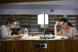French exchange students Jeanne Briand, right, and Geraldine Gonzalez study for the BAR test in the library at UC Hastings College of the Law in San Francisco, CA, on Monday March 13, 2017.