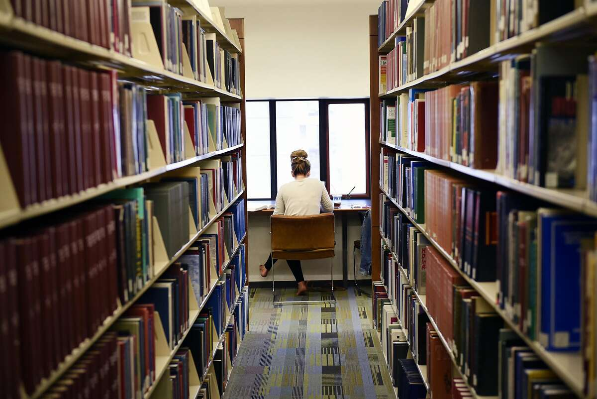First year student Kara Goidosik studies in the library at UC Hastings College of the Law in San Francisco.