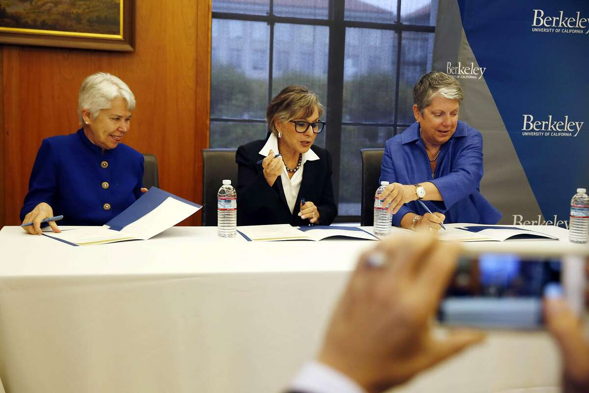 Interim Executive Vice Chancellor and Provost Carol Christ, (l to r) Senator Barbara Boxer and UC President Janet Napolitano sign papers at UC Berkeley's Bancroft Library after Senator Barbara Boxer announced that she will donate her archive at the end of her term to UC Berkeley's Bancroft Library on Thursday, September 1, 2016 in Berkeley, California.