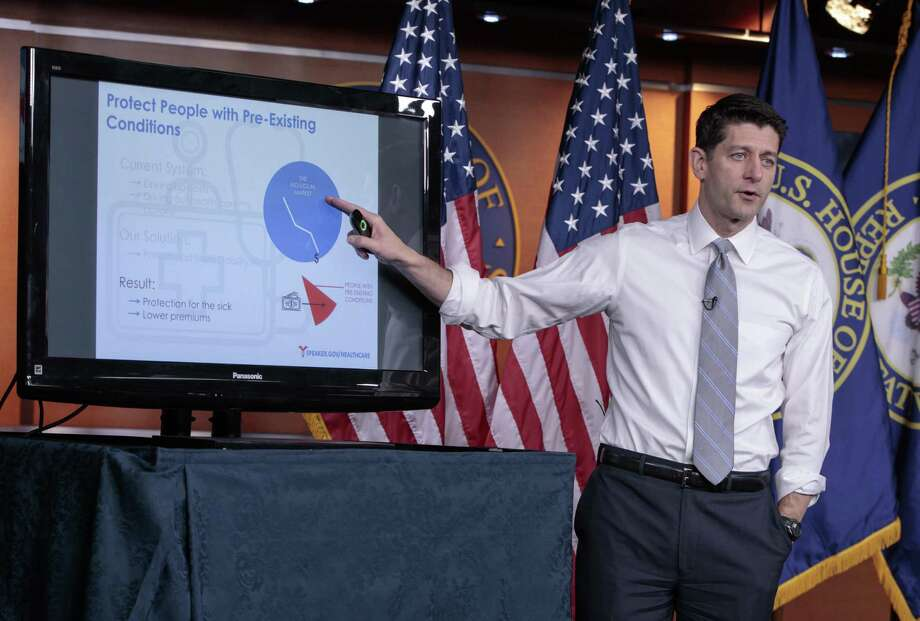 House Speaker Paul Ryan of Wis. uses charts and graphs to make his case for the GOP's long-awaited plan to repeal and replace the Affordable Care Act on Thursday. The plan, however, will worsen some very basic problems in the U.S. Photo: J. Scott Applewhite /Associated Press / AP