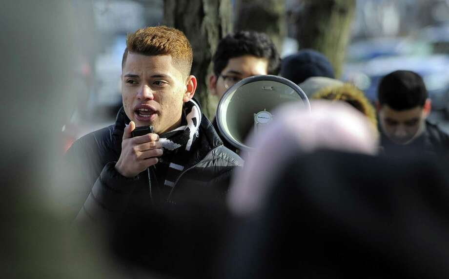 """Michael Hernandez, a Westhill High School Student and lead organizer , rallies students of Stamford High Schools on March 3, 2017 in front of the Stamford Government Center for """"One Day Without Immigrant Students"""" to protest against the actions of the federal government. Photo: Matthew Brown / Hearst Connecticut Media / Stamford Advocate"""