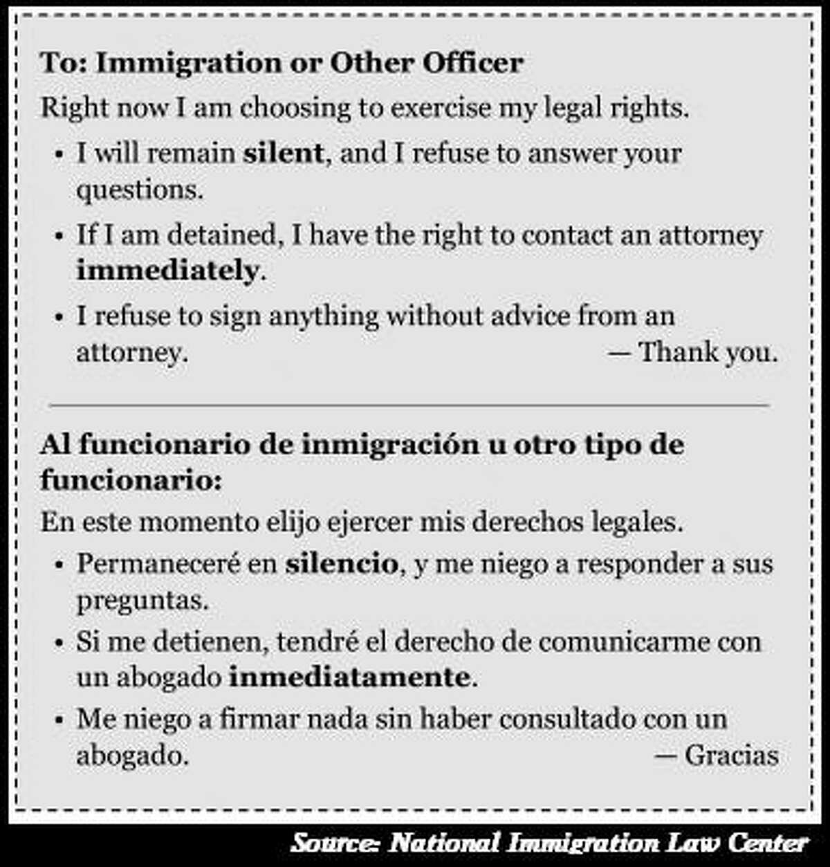 In Spanish: What to say to ICE or other officers, courtesy the National Immigration Law Center.