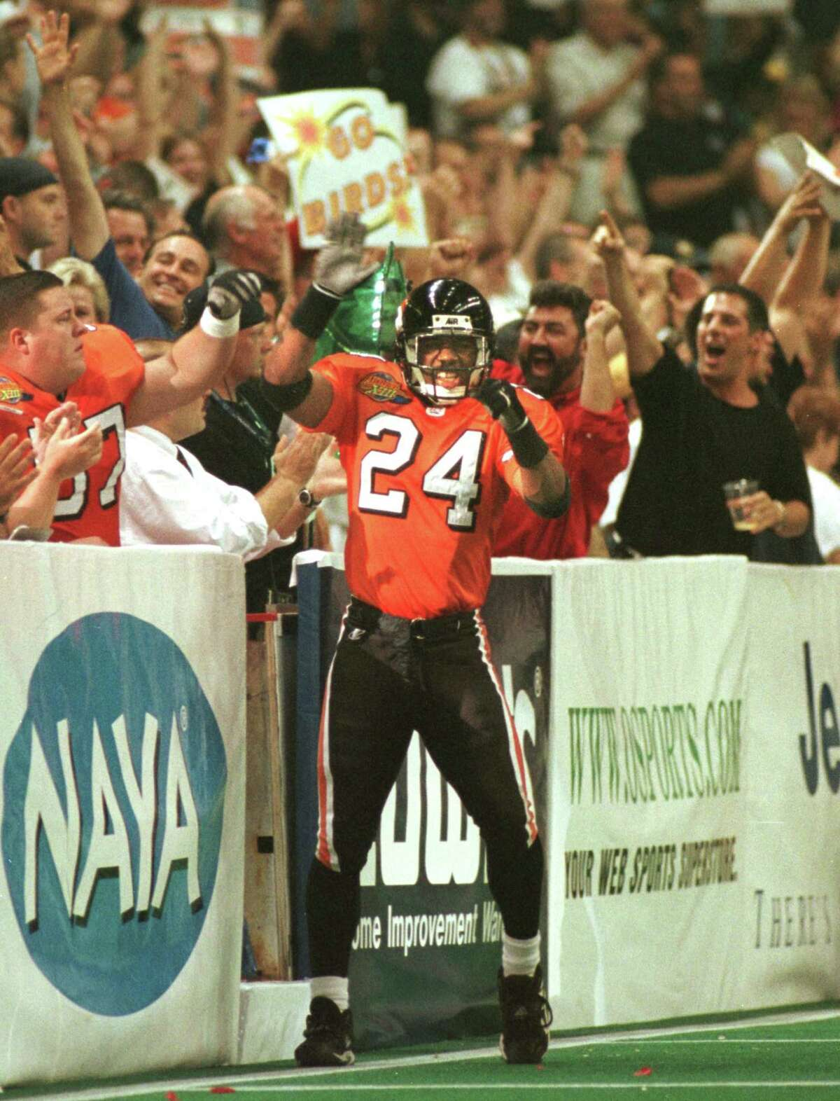 ALBANY FIRE BIRDS Defensive Saftey #24 Derek Stingley celebrates after a defensive stand during their game against the Orlando Predators in the 1999 ARENA BOWL XIII at the PEPSI ARENA , SATURDAY August 21, 1999 at 6:10 pm. 08/23/2000 (Michael P. Farrell/Times Union)
