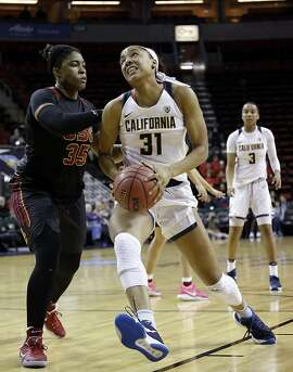 California's Kristine Anigwe in action against Southern California in an NCAA college basketball game in the Pac-12 Conference tournament, Thursday, March 2, 2017, in Seattle. (AP Photo/Elaine Thompson)