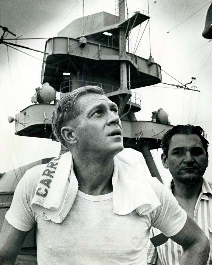 "Actor Steve McQueen was considered one of Hollywood's hottest ""new"" stars when he filmed scenes for ""The Sand Pebbles"" aboard the USS Texas in 1966. Photo: Richard Pipes, HC Staff / Houston Chronicle"