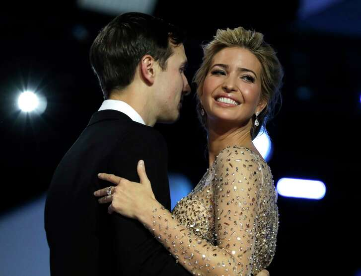 "FILE - In this Friday, Jan. 20, 2017, file photo, Ivanka Trump and her husband Jared Kushner dance at the Freedom Ball, in Washington.  ""Saturday Night Live"" skewered President Donald Trump's elder daughter with a faux perfume ad starring actress Scarlett Johansson Saturday, March 11, 2017. (AP Photo/Evan Vucci, File)"