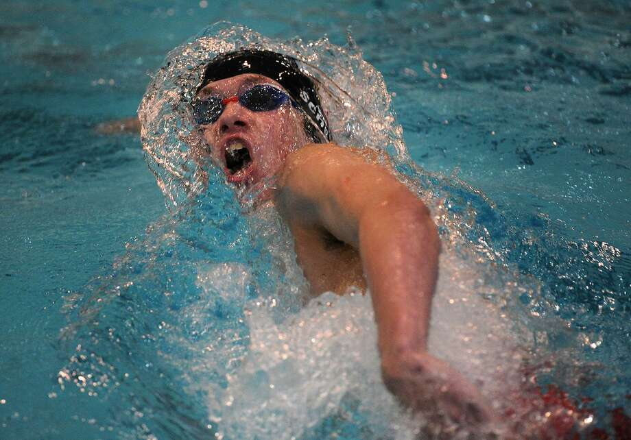 Greenwich's Kirk Schultz competes in the 200-yard freestyle at the Class LL championship on Monday at Wesleyan University in Middletown. Photo: Brian A. Pounds / Hearst Connecticut Media / Connecticut Post