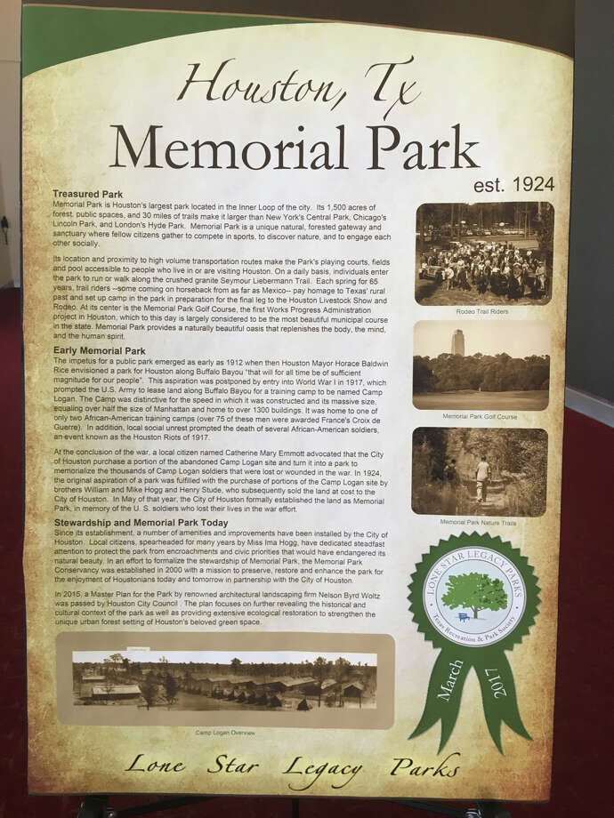 The Texas Recreation and Park Society designated Memorial Park as a Lone Star Legacy Park on March 1.  Photo: Memorial Park Conservancy