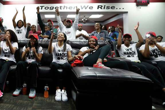 Texas Southern University women's basketball team reacts as they received their NCAA bid against Baylor, Monday, March 13, 2017, in Houston.