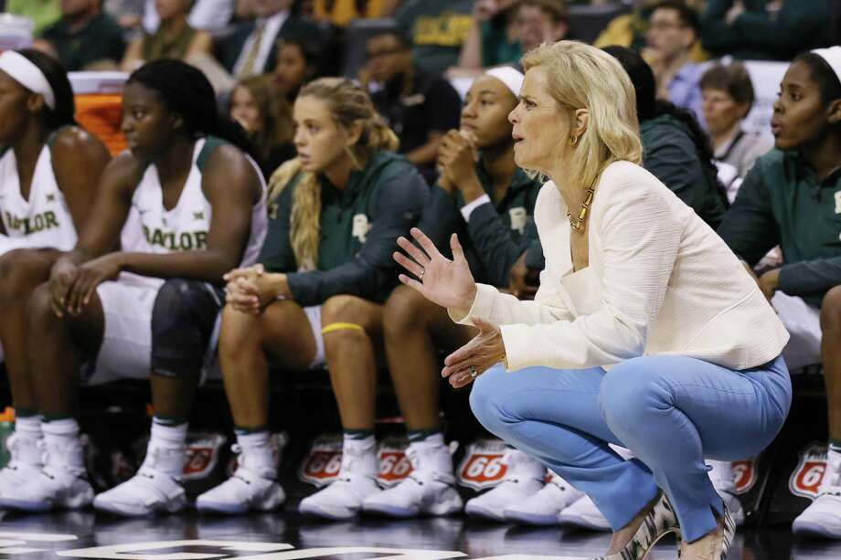 Baylor head coach Kim Mulkey directs her team in the second half against West Virginia in the finals of the Big 12 Conference tournament in Oklahoma City on March 6, 2017. West Virginia won 77-66. Photo: Sue Ogrocki /Associated Press / AP2017
