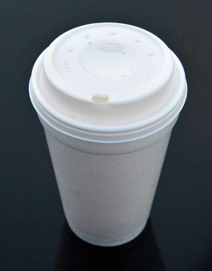 A generic Styrofoam cup with top Tuesday Nov. 12, 2013, in Colonie, NY.  (John Carl D'Annibale / Times Union) Photo: John Carl D'Annibale