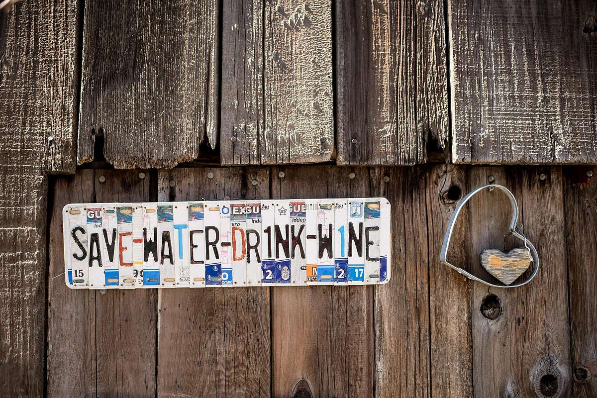 A sign hangs at Miner's Leap Winery in Clarksburg, Calif., on Saturday, March 11, 2017.