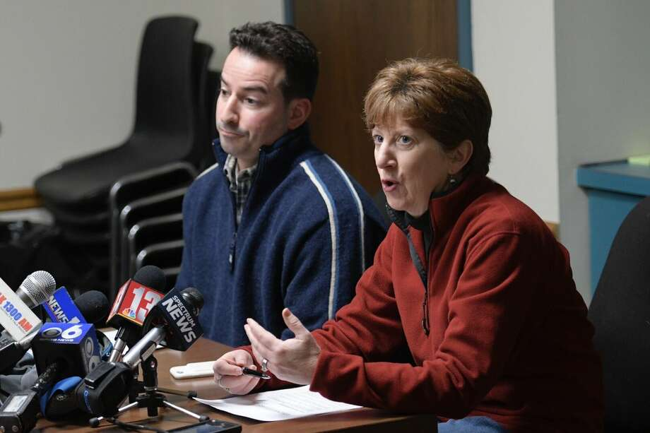 Albany Mayor Kathy Sheehan and General Service Commissioner Daniel Mirabile discuss Tuesday's snow emergency in the city. (Skip Dickstein / Times Union) Photo: Skip Dickstein / Times Union