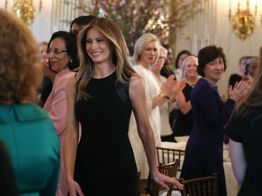 First lady Melania Trump arrives at a luncheon she was hosting to mark International Women's Day in the State Dining Room at the White House March 8, 2017 in Washington, DC. Photo: Mark Wilson/Getty Images