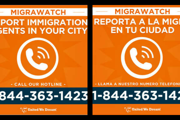 United We Dream, a coalition of immigrant organizations, created this hotline number for people to inform about rallies and immigration enforcement activities around the country.