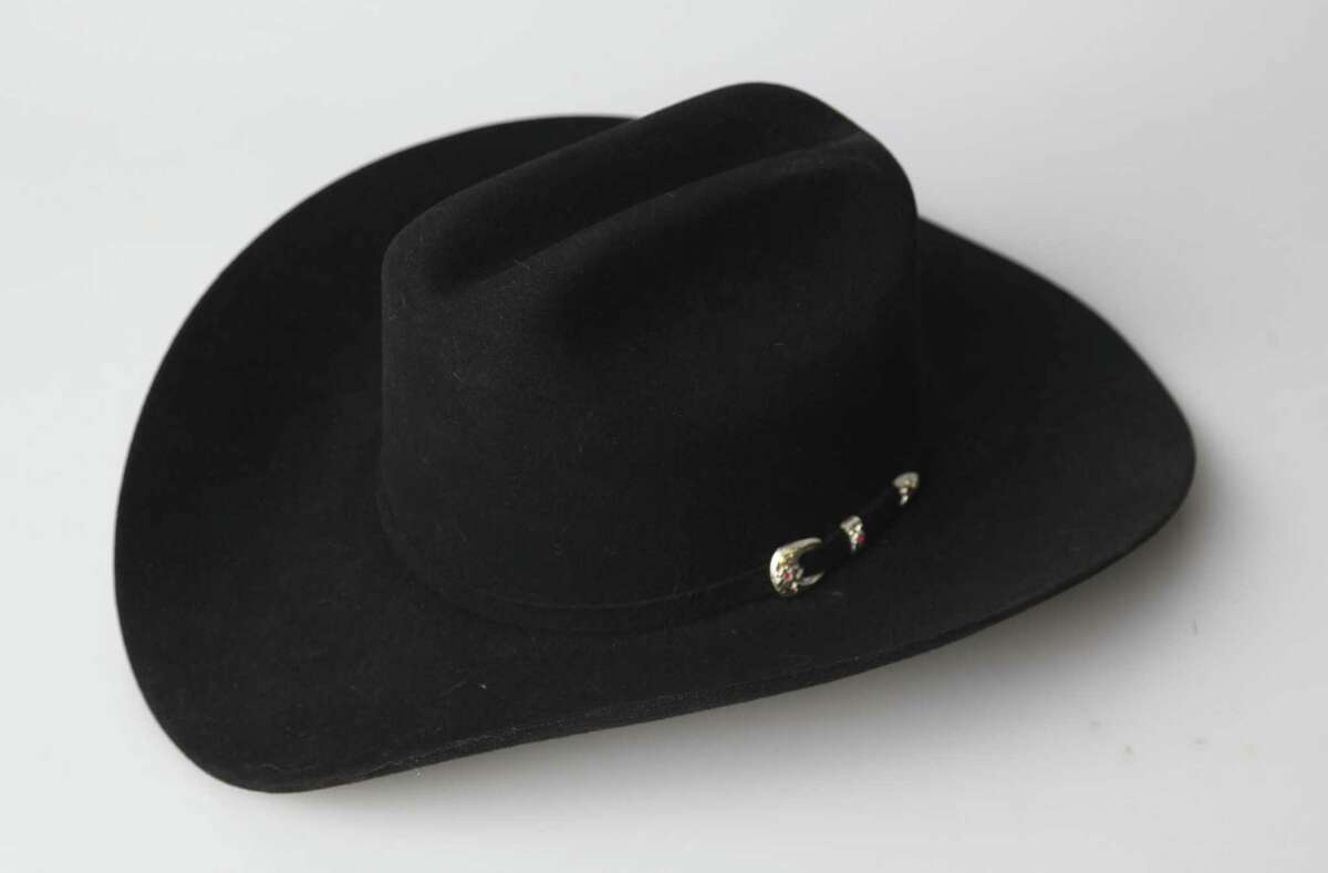 Rich Minus' black felt cowboy hat. The size 7 hat is a Larry Mahan's style made by the Milano Hat Company in Texas.