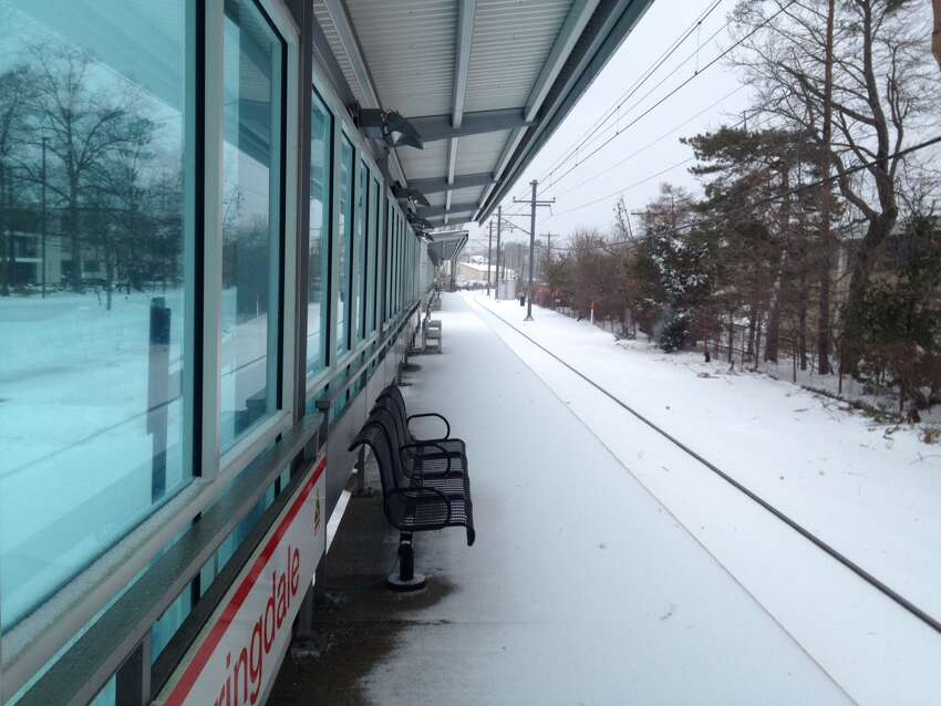 Springdale train station in Stamford during Tuesday morning's snow storm.