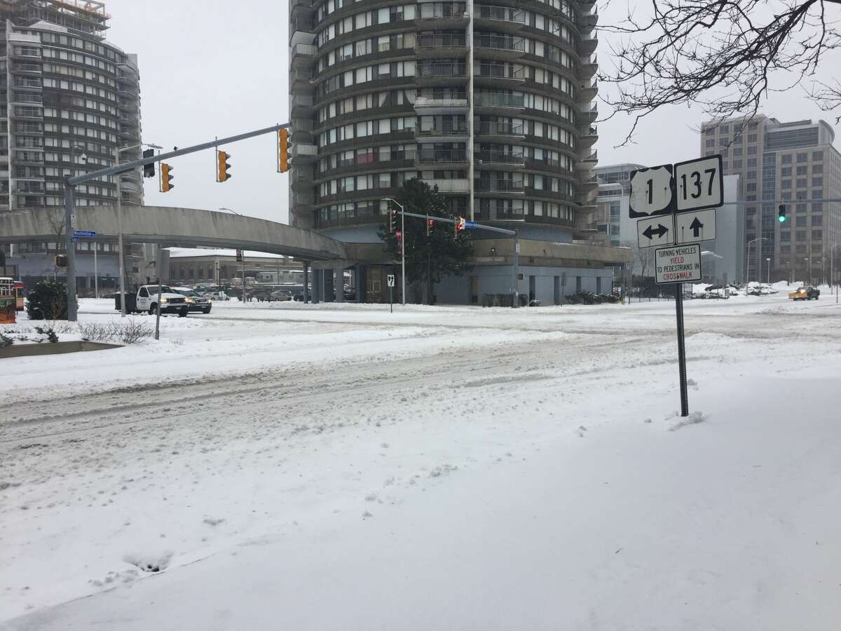 Tresser Boulevard is deserted as Stamford residents hunker down during Tuesday's snow storm.