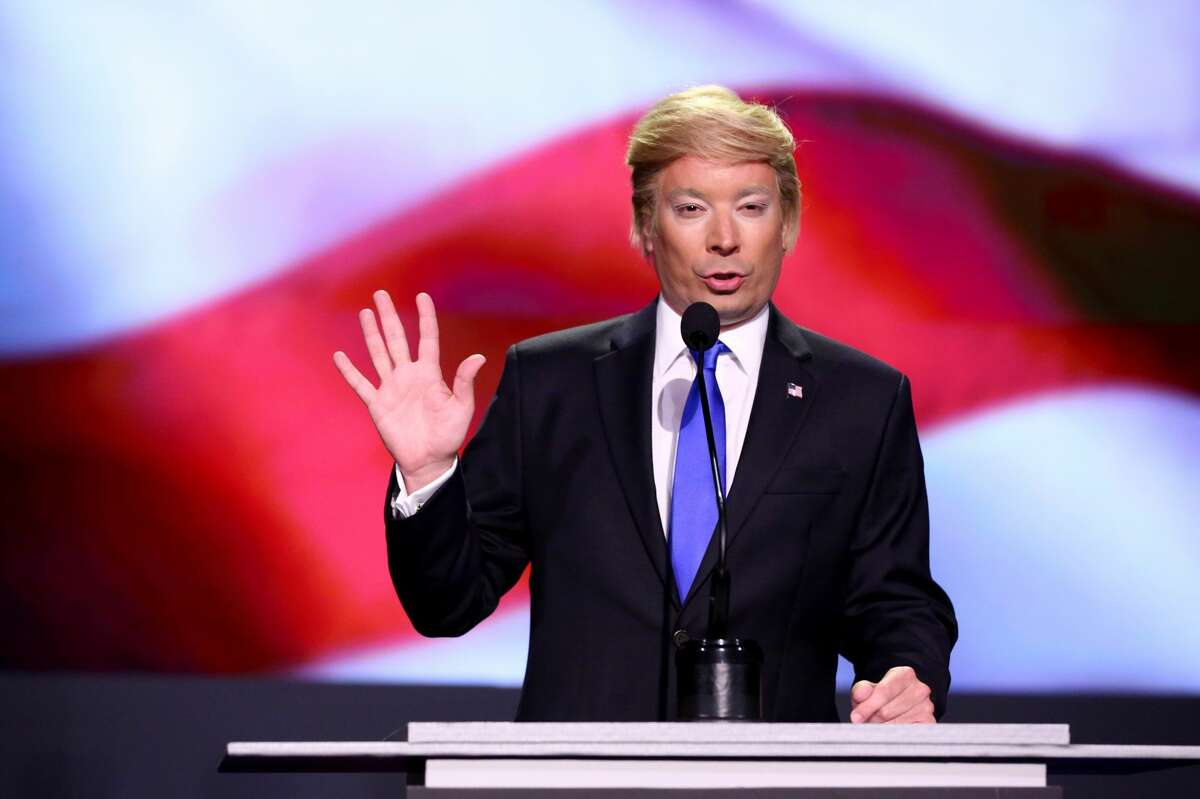 Donald Trump Jimmy Fallon as Trump on The Tonight Show with Jimmy Fallon.