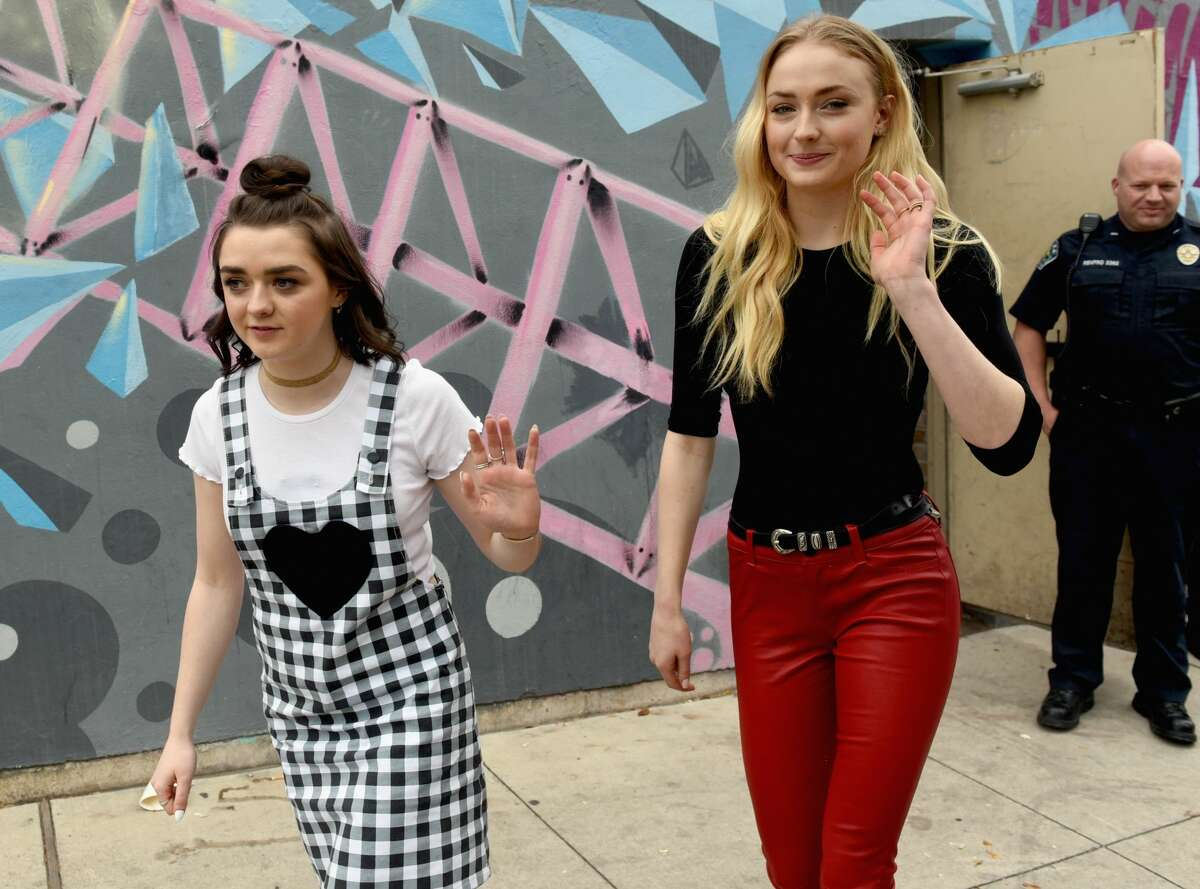 The celebrities spotted during SXSW 2017 Actors Maisie Williams (L) and Sophie Turner attend 'Featured Session: Game of Thrones' during 2017 SXSW Conference and Festivals at Austin Convention Center on March 12, 2017 in Austin, Texas.