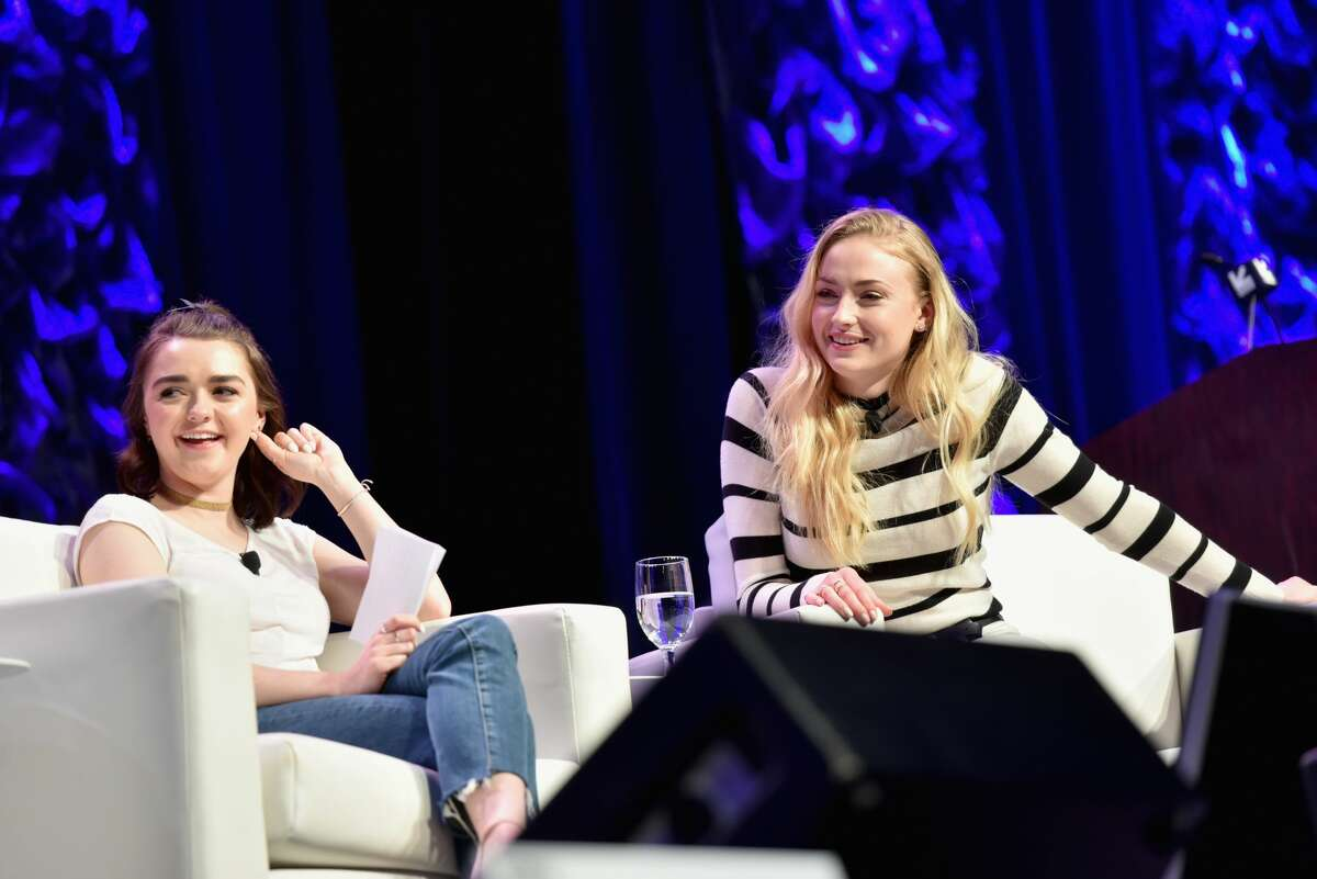 Actors Maisie Williams (L) and Sophie Turner speak onstage at 'Featured Session: Game of Thrones' during 2017 SXSW Conference and Festivals at Austin Convention Center on March 12, 2017 in Austin, Texas.