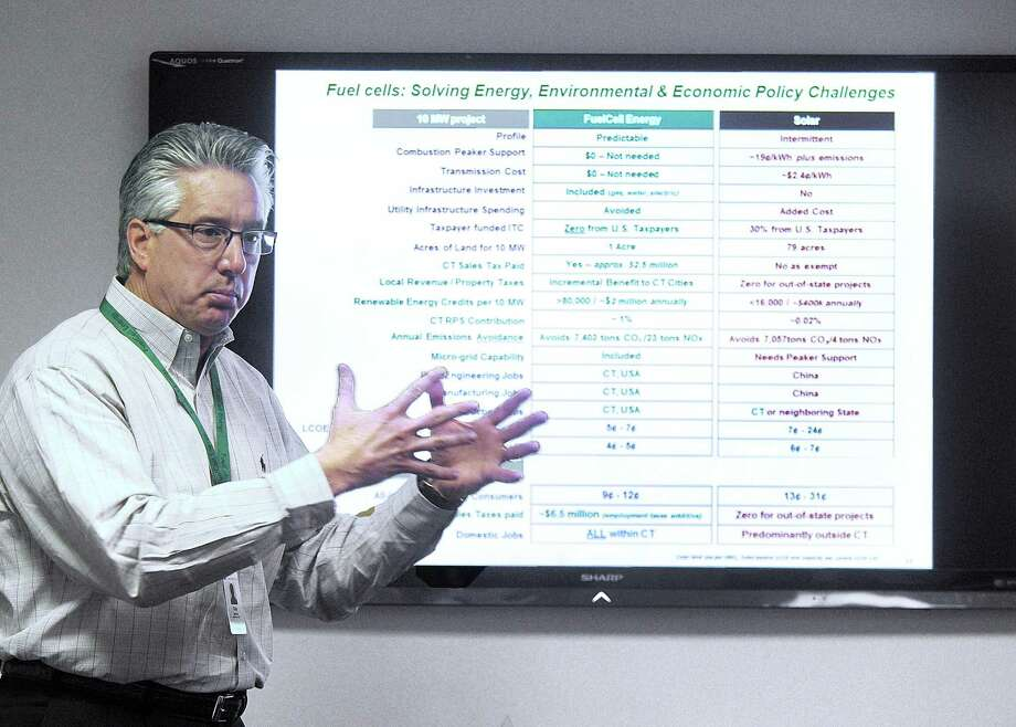 Chip Bottone, CEO of FuelCell Energy, talks about his company Wednesday, February 1, 2017. Photo: Carol Kaliff / Hearst Connecticut Media / The News-Times
