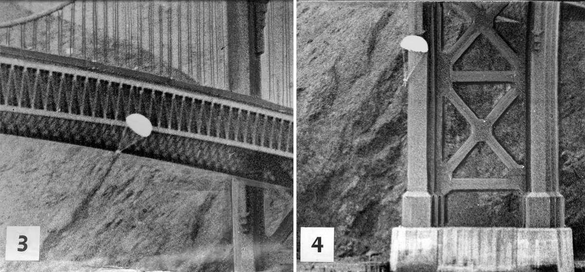 Parachutist Robert Niles successfully parachuted off the Golden Gate Bridge, April 15, 1949.