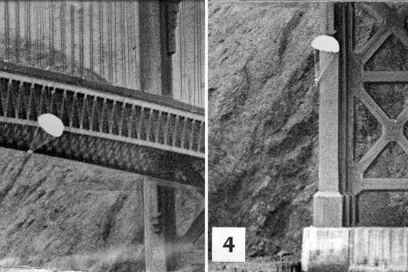 Parachutist Robert Niles successfully parachuted off the Golden Gate Bridge, April 15, 1949.