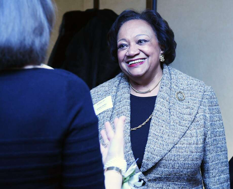 Juanita James, who is a past BRAVA award recipient, chats with honorees at the 40th Annual YWCA Greenwich BRAVA Awards at the Hyatt Regency in Greenwich, Conn., Feb. 10, 2017. The awards recognize women who have excelled in their professional careers and who also volunteer their time and talent to help others. Proceeds from the event support the YWCA programs including free support to victims of domestic violence. Photo: Keelin Daly / For Hearst Connecticut Media / Greenwich Time Freelance
