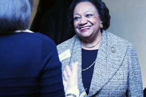 Juanita James, who is a past BRAVA award recipient, chats with honorees at the 40th Annual YWCA Greenwich BRAVA Awards at the Hyatt Regency in Greenwich, Conn., Feb. 10, 2017. The awards recognize women who have excelled in their professional careers and who also volunteer their time and talent to help others. Proceeds from the event support the YWCA programs including free support to victims of domestic violence.