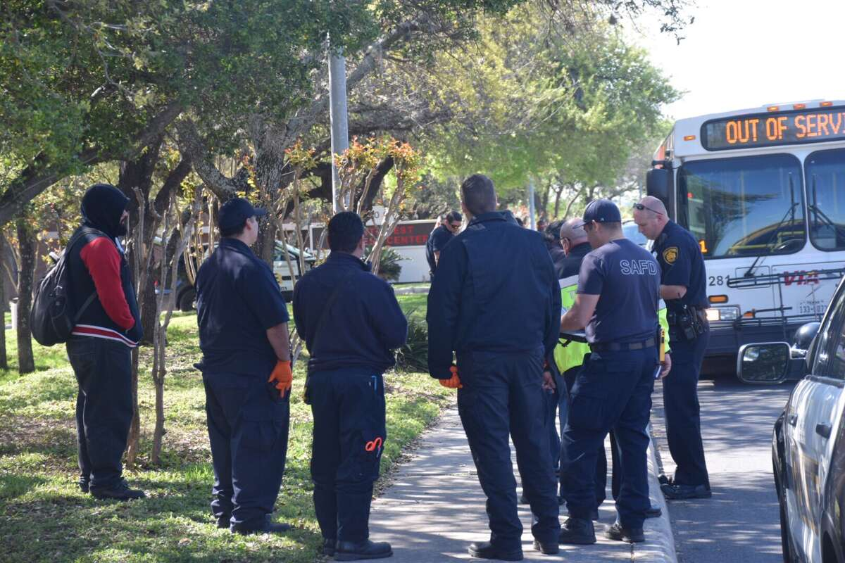 Police are searching the city's Northwest Side for the victim of a possible stabbing on a VIA bus.