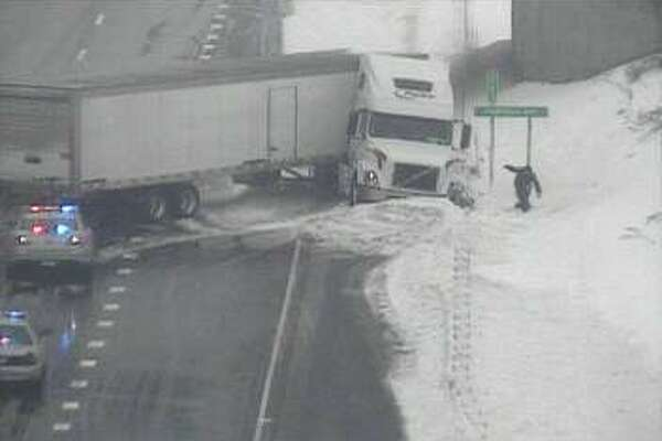 Tractor trailer jack-knifed near Exit 15 southbound on I-95 in Norwalk during snowstorm on March 14, 2017.