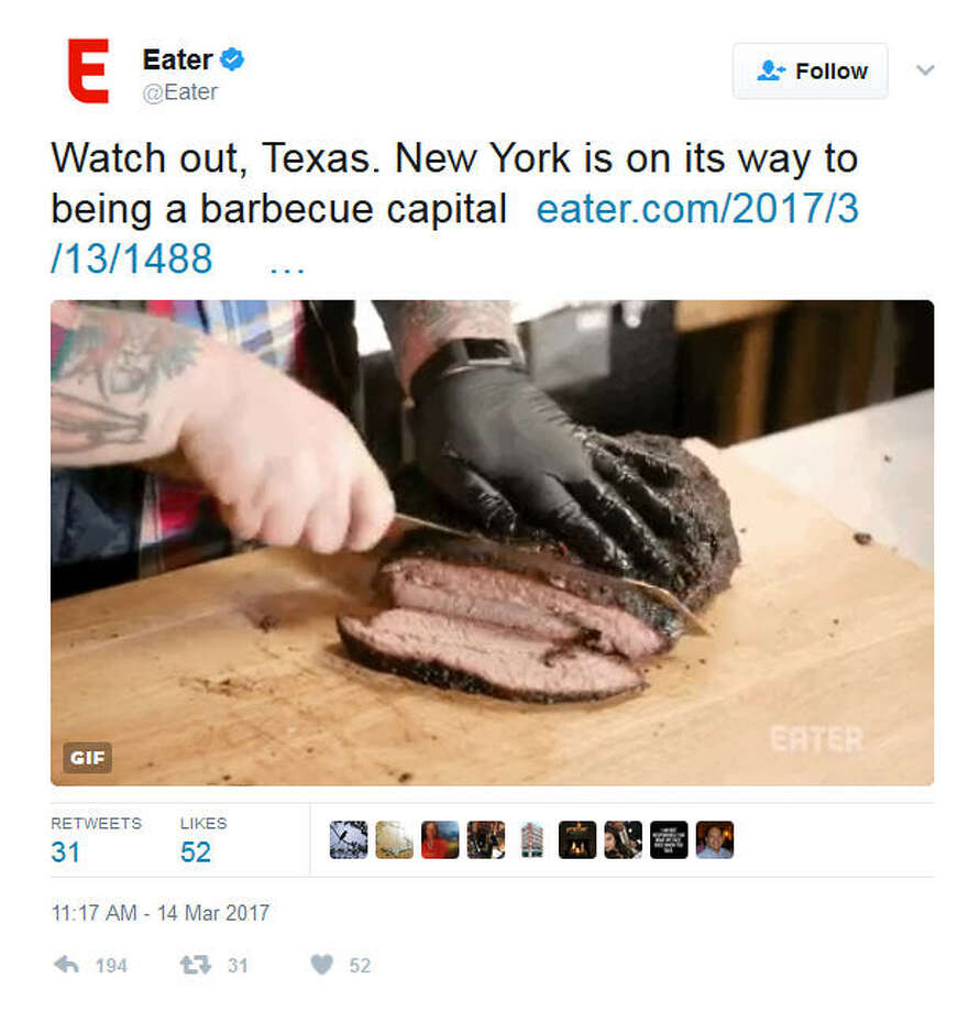 PHOTOS: Eater steps into a BBQ fightOn Tuesday Eater said that New York is on its way to becoming a barbecue capital.Click through to see what happened next....Source: Twitter Photo: Twitter