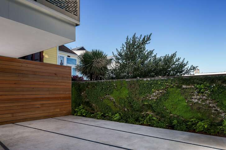 Grasses and plantings burst from a living wall bordering the property.