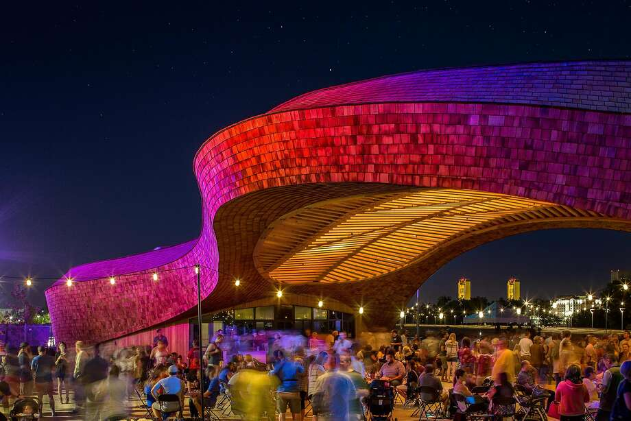 The Barn, an 8,000-square-foot waterfront events venue designed to curve like a river, fully opens this summer. Photo: Chad Davies