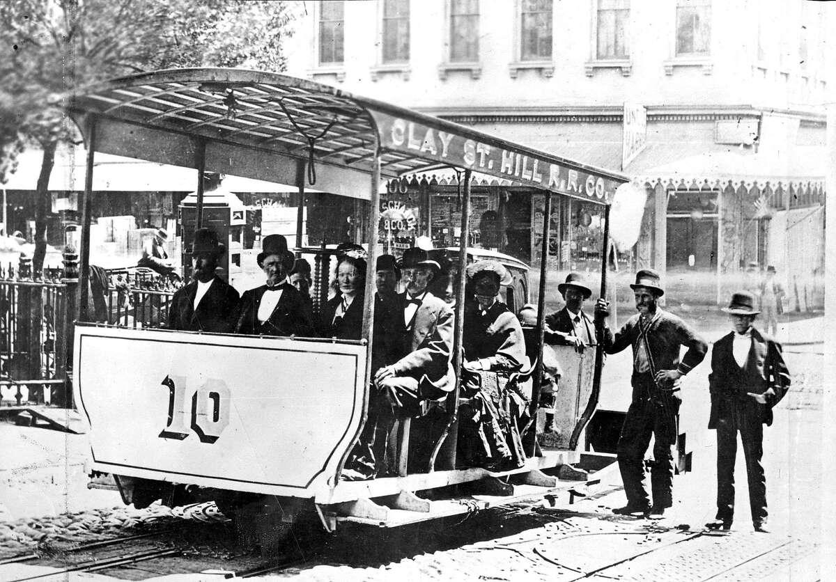 An early cable car on San Francisco's Clay Street line. Photo circa 1873.