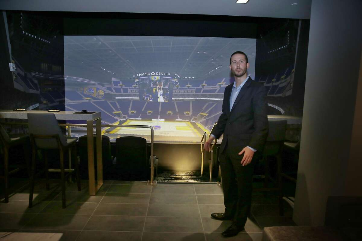 Brandon Schneider, senior vice president, business development, Golden State Warriors, stands in a model of a traditional suiteat a Warriors sales office adjacent to the future Chase Centeron Tuesday, March 14, 2017 in San Francisco, Calif.
