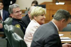 San Antonio Police Chief William McManus gets a laugh from a misstated comment from Dallas Mayor Mike Rawlings as the Senate Finance Committee holds a hearing in the State Capitol concerning SB 2 the legislation designed to put restrictions on local property tax revenue on March 14, 2017.  McManus was one of four who were able to make comments before senators went to the Senate chamber at noon.