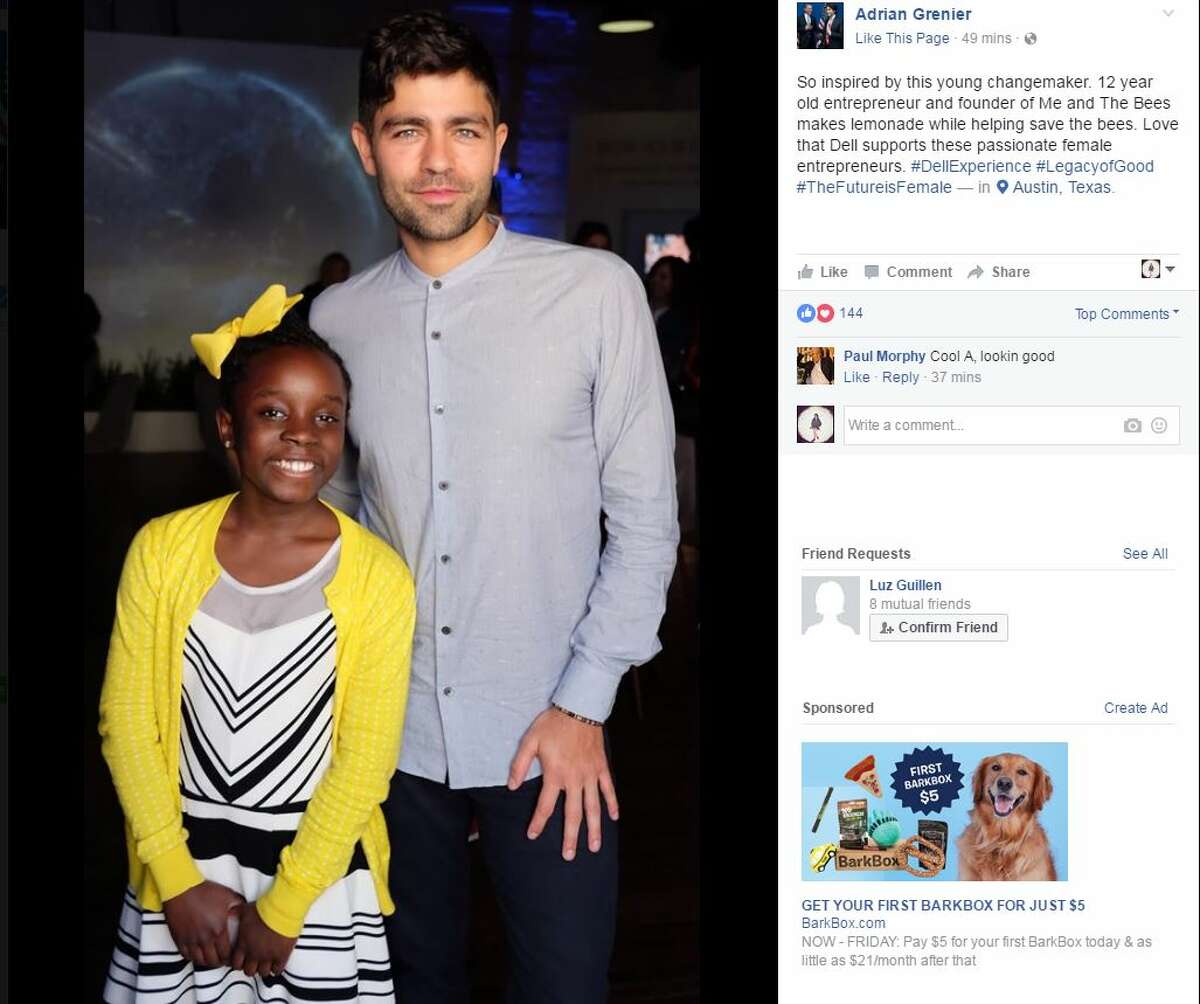 Adrian Grenier and young entrepreneur Mikaila Ulmer at SXSW,Tuesday, March 14, 2017.