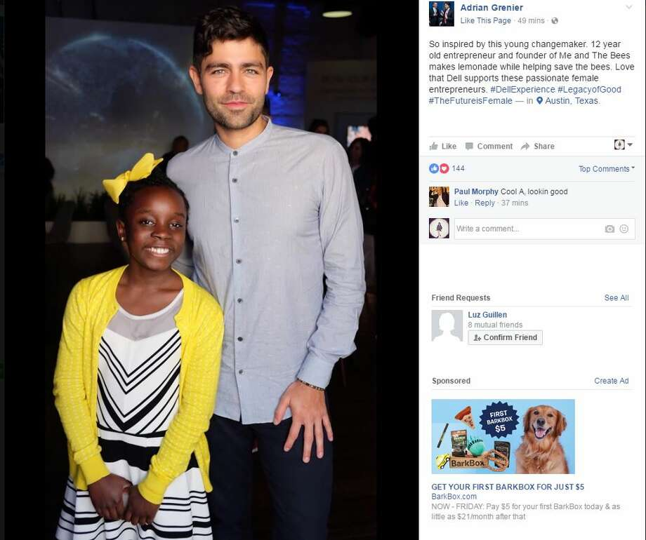 Adrian Grenier and young entrepreneur Mikaila Ulmer at SXSW,Tuesday, March 14, 2017.>>Click to see other celebrities at SXSW this year.
