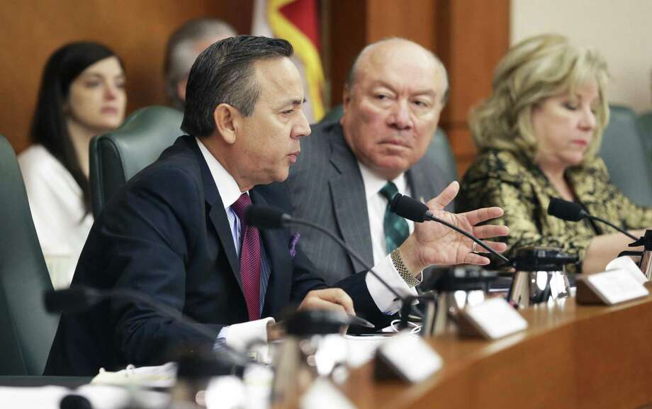 Senator Carlos Uresti questions San Antonio Police Chief William McManus as the Senate Finance Committee holds a hearing in the State Capitol concerning SB 2 the legislation designed to put restrictions on local property tax revenue on March 14, 2017. Photo: Tom Reel, Staff / San Antonio Express-News / 2017 SAN ANTONIO EXPRESS-NEWS
