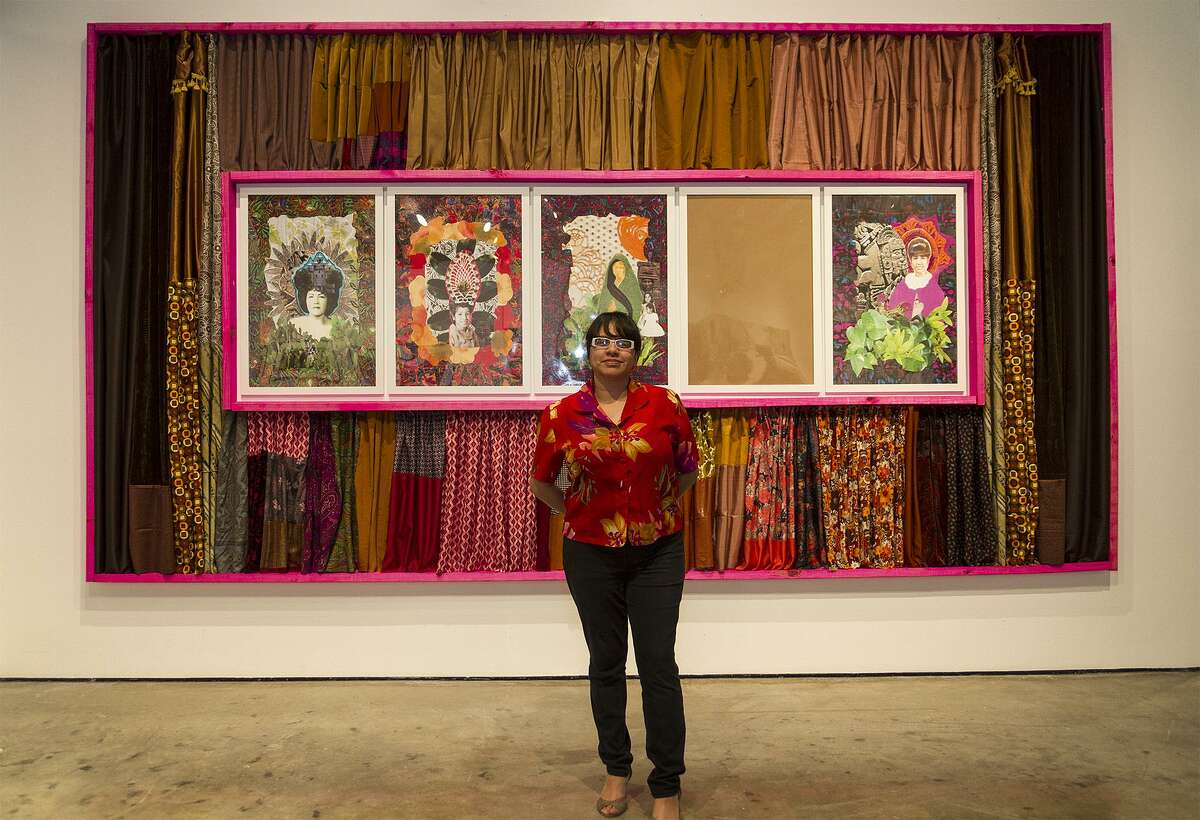 """Sarah Castillo describes her work """"Remedies for (Re)membering"""" as a """"regal portrait"""" of the women in her family. She is one of 15 Latina artists featured in """"A Woman's Place ..."""""""