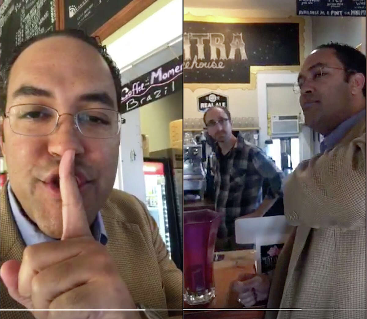 """Rep. Will Hurd, a Republican who represents Southwest Texas, stops a Tantra Coffee in San Marcos. He and Rep. Beto O'Rourke, a Democrat from El Paso, are periscoping live while on a ?""""bipartisan roadtrip town hall?• while driving from San Antonio to Washington, D.C., after a blizzard affected travel plans"""