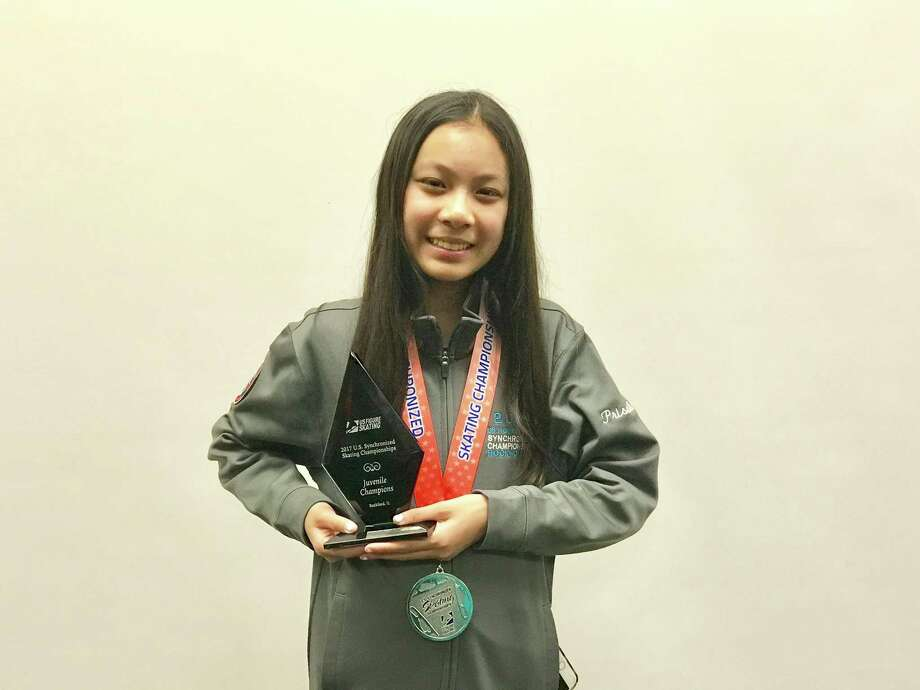 New Canaan skater Priscilla Liao poses with her awards. Photo: Contributed Photo / Darien News contributed